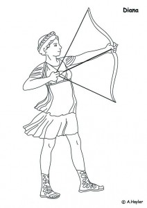 coloring page Diane, goddess of the hunt