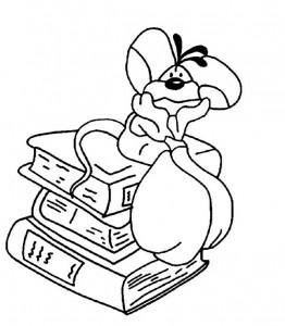 pagina da colorare Diddl sui libri di scuola
