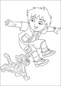 kleurplaat Diego en baby luipaard