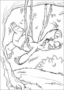 Diego coloring page in the lianas