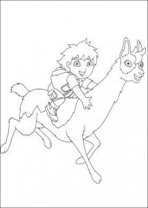 kleurplaat Diego op de lama