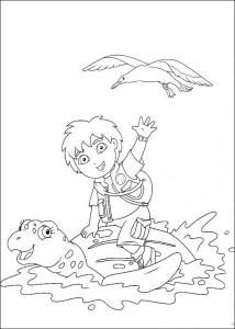 kleurplaat Diego op de rug van zeeschildpad
