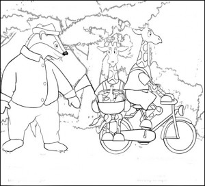 coloring page Dip and Dap are going to picnic