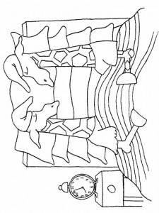 målarbok Doppa och doppa i sängen