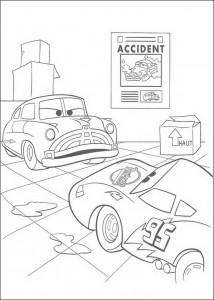 kleurplaat Doc vertelt van het ongeluk