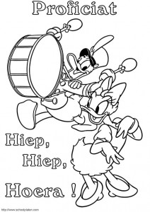 coloring page Donald and Katrien celebrate birthday