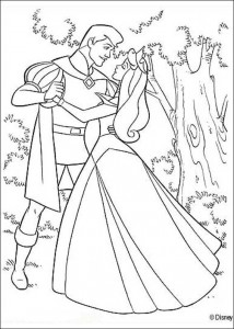 målarbok Sleeping Beauty dansar med prinsen (1)