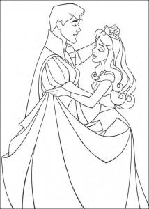 målarbok Sovande skönhet dansar med prinsen