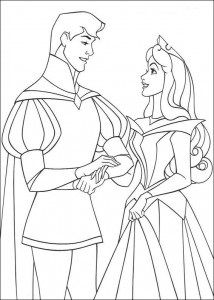 coloring page Sleeping Beauty and the prince