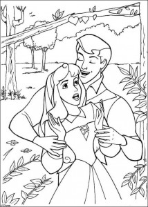 coloring page Sleeping Beauty sings with the prince