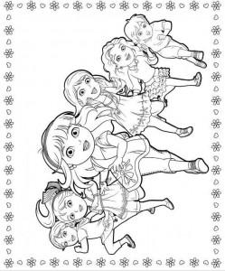 kleurplaat dora and friends 1