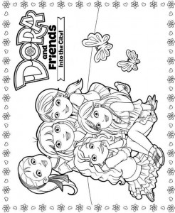 coloring page dora and friends 4