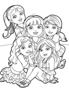 coloring page dora and friends