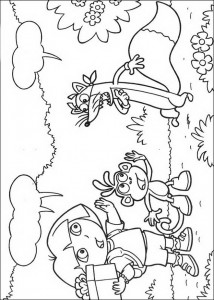 coloring page Dora, Boots and Swiper