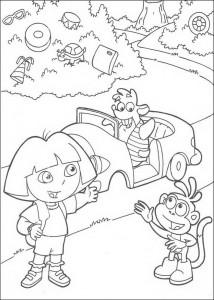 kleurplaat Dora en Boots (1)