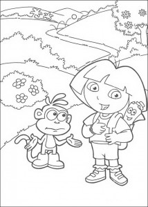 kleurplaat Dora en Boots (2)