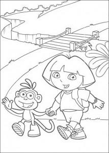 kleurplaat Dora en Boots (3)