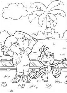 kleurplaat Dora en Boots (6)
