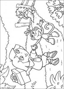 kleurplaat Dora en Boots (7)