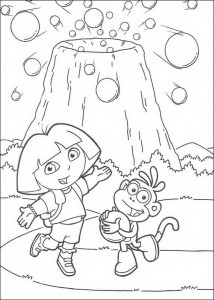 coloring page Dora and Boots at the volcano (1)