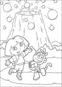 målarbok Dora och stövlar vid vulkanen (1)