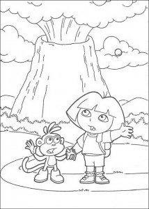 coloring page Dora and Boots at the volcano