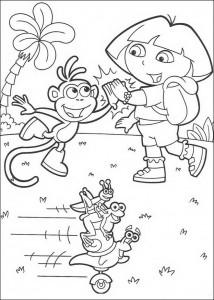 målarbok Dora och stövlar hög fem