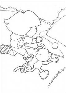 coloring page Dora and Boots are running behind the ball