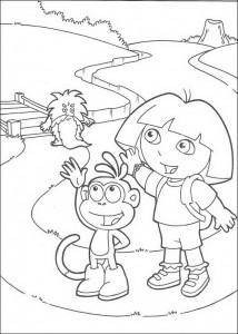 kleurplaat Dora en Boots