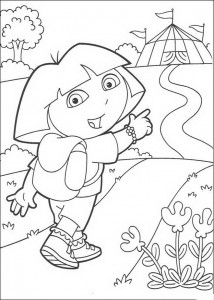 coloring page Dora walks to the circus