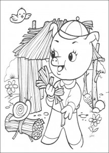 coloring page Three little pigs