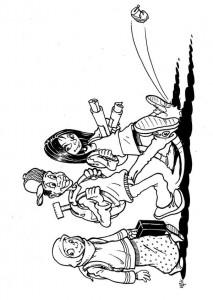 pagina da colorare Tre bambini che vanno a scuola