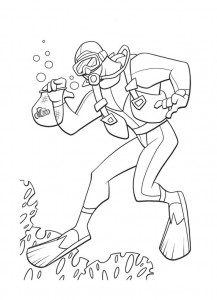coloring page diver (1)