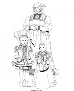 målarbok Tyskland, barn med barnvakt, 1550
