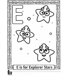Dibujo para colorear E Explorar = Explorar