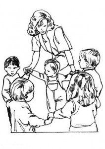 coloring page A dance with a teacher
