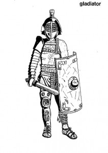 coloring page A gladiator