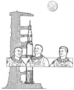 coloring page First dead, burned in Apollo, 1967
