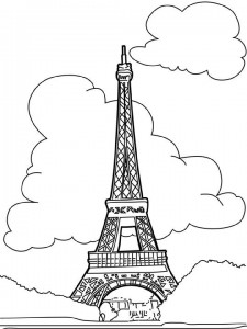 coloring page Eiffel tower, Paris