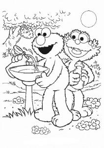 kleurplaat Elmo en Zoe