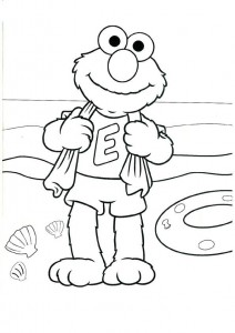 coloring page Elmo on the beach