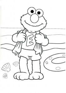 kleurplaat Elmo op het strand