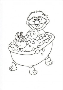coloring page Ernie in the bath