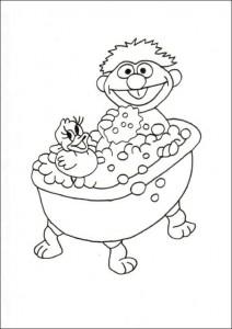 målarbok Ernie i badet