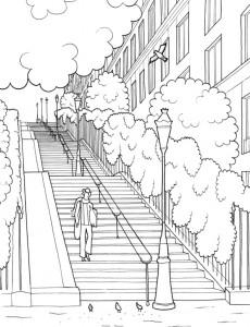 coloring page escaliers de la rue muller