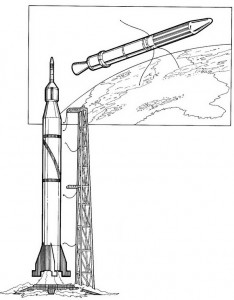 coloring page Explorer 1, USA. 1958