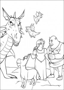 kleurplaat Ezel, draak en de kleine drezeltjes