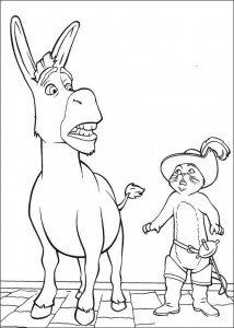 coloring page Donkey and the booted cat in the wrong body
