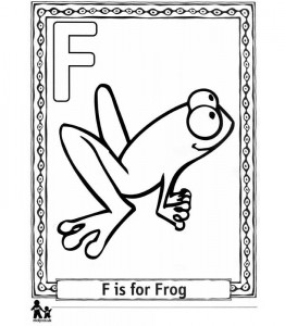 kleurplaat F Frog = Kikker