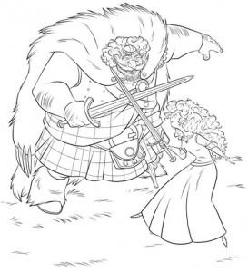 kleurplaat Fergus en Merida